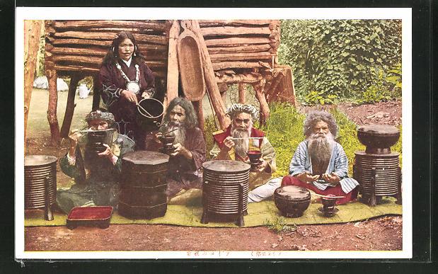 AK Ainu, japanische Ureinwohner beim Essen