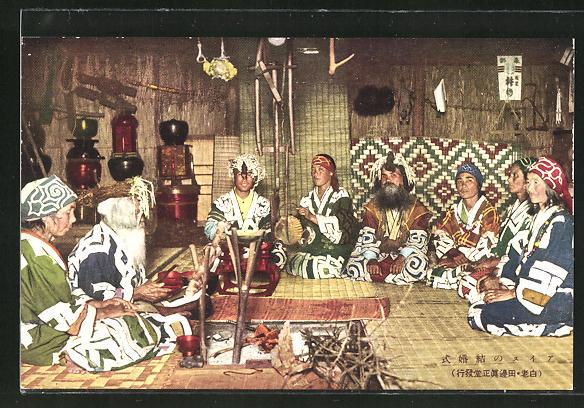 AK Ainu, japanische Ureinwohner beim Gebet auf dem Boden