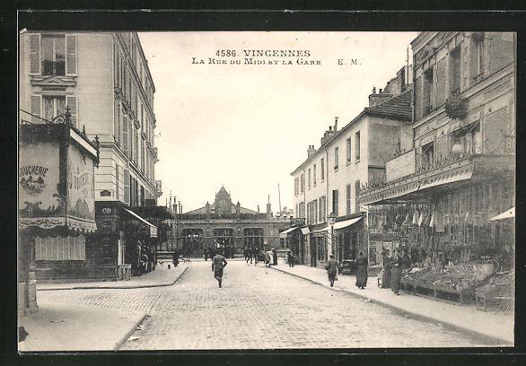 AK Vincennes, La Rue du Midi et la Gare