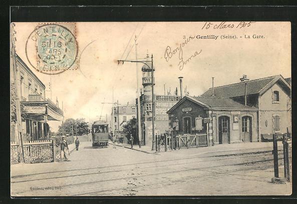 AK Gentilly, La Gare et Tramway 0
