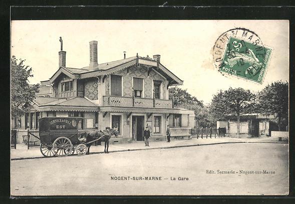 AK Nogent-sur-Marne, La Gare, Pferdekutsche 0