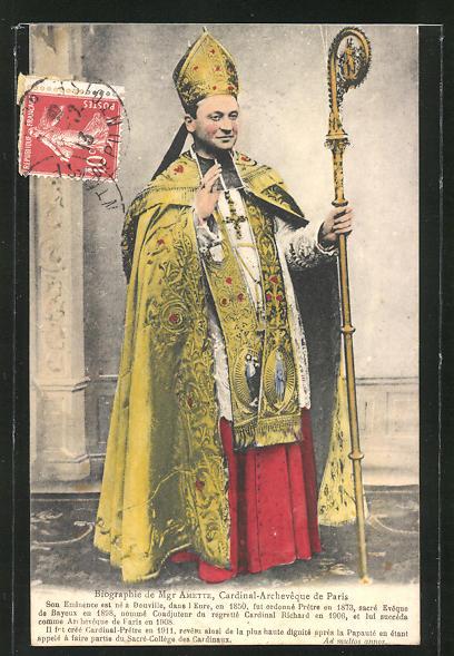 AK Mgr Amette, Cardinal-Archevêque de Paris, kardinalstypische Kleidung