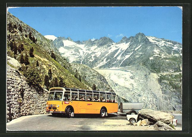 AK Bus mit Anhänger auf der Grimsel-Pass-strasse, Galenstock und Rhonengletscher