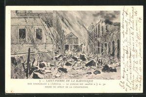AK Saint-Pierre de la Martinique, Rue Conduisant a l'Hôpital, Vulkanausbruch