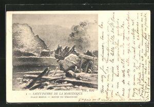 AK Saint-Pierre de la Martinique, Place Berin - Restes du Sémaphore, Vulkanausbruch
