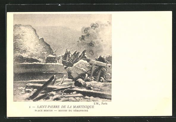 AK Saint-Pierre de la Martinique, Place Bertin - Restes du Sémaphore, Vulkanausbruch