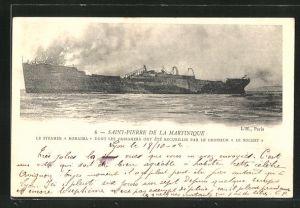 AK Saint-Pierre de la Martinique, Le Steamer Roraima dont les Passagers..., Schiffswrack nach Vulkanausbruch