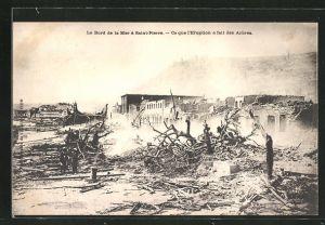 AK Saint-Pierre, Ce que l'Eruption a fait des Arbres, Strandpartie nach Vulkanausbruch