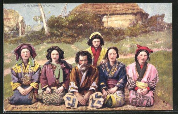 AK Une Groupe d'Ainos, Ainu, Ureinwohner Nordjapans