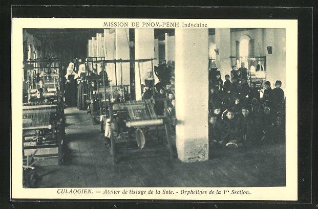 AK Pnom-Penh, Culaogien, Atelier de tissage de la Soie, Weberei, Waisenhaus