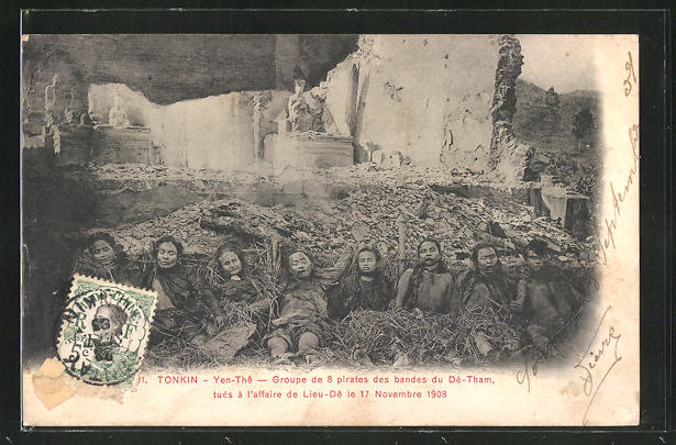 AK Yen-Thê, Groupe de 8 pirates des bandes du Dé-Tham, Tonkin 1908, Leichen verurteilter Piraten