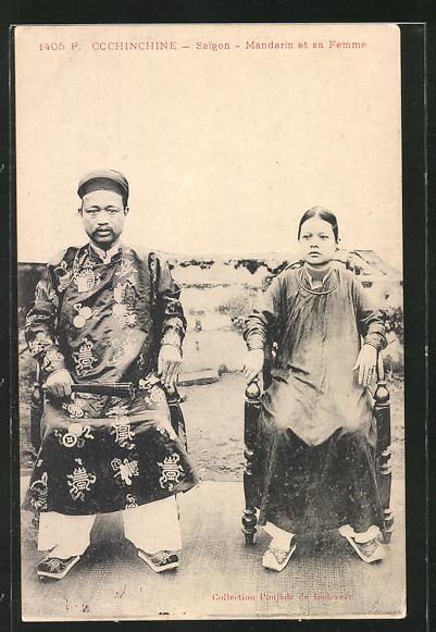AK Cochinchine-Saigon, Mandarin et sa Femme, asiatische Volkstypen