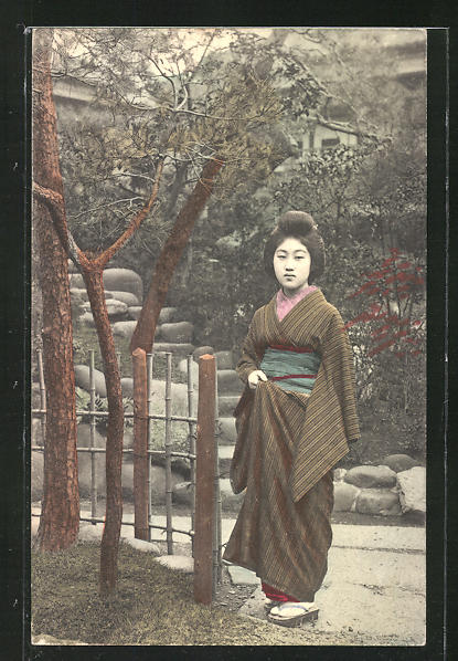 AK Geisha an einem Baum im Garten