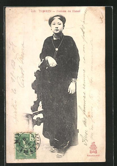 AK Tonkin, Femme de Hanoi, asiatische Volkstypen