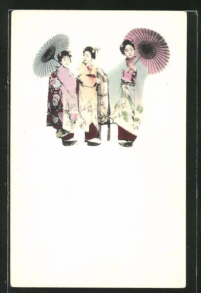 AK Geishas mit Schirmen im Gespräch