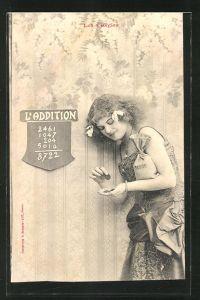 AK Les 4 Regles, L'Addition, Frau mit Geldsack