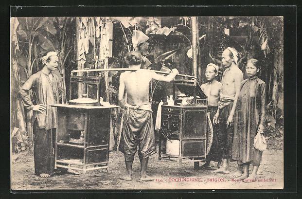 AK Saigon, Restaurateur ambulant, asiatische Volkstypen
