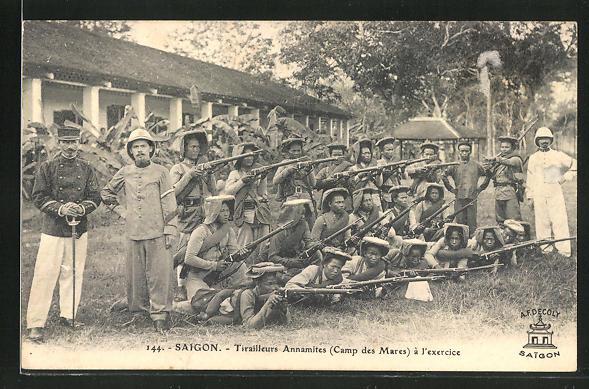 AK Saigon, Tirailleurs Annamites à l' exercice 0