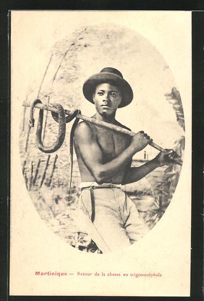 AK Martinique, Retour de la chasse au trigonocephale, Knabe mit Schlange