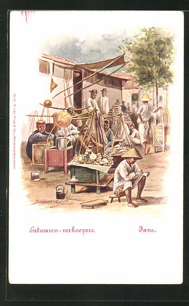 Künstler-AK Java, Eetwaren-verkoopers, indonesische Strassenhändler