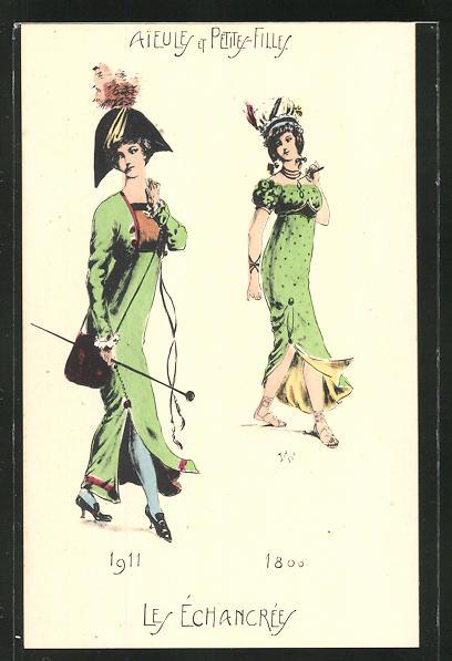 Künstler-AK Aieules et Petites-Filles, Les Echancrees 1911 & 1800