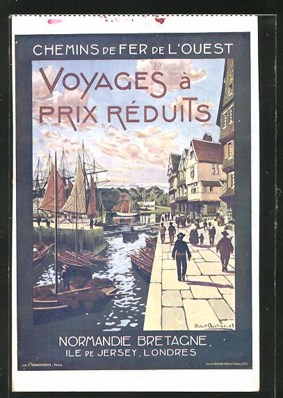 Künstler-AK Chemins de Fer de l'Ouest, Normandie Bretagne, Ile de Jersey..., Tourismus