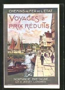 Künstler-AK Chemins de Fer de l'Etat, Normandie Bretagne, Ile de Jersey..., Hafenpromenade, Tourismus