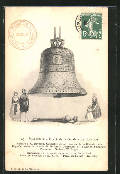 AK Marseille, N.-D. de la Garde, le Bourdon, Glocke