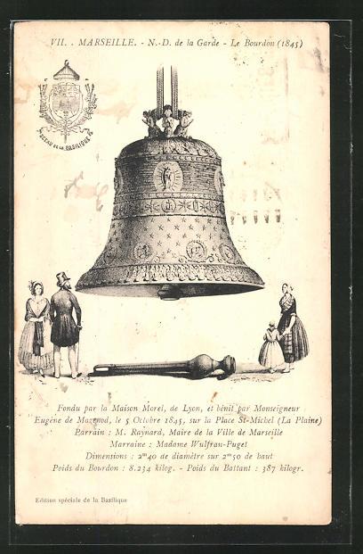 AK Marseille, N.-D. de la Garde, le Bourdon (1845), Glocke