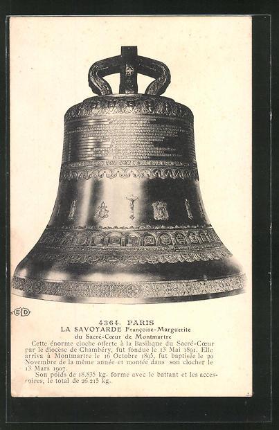 AK Paris, La Savoyarde Francoise-Marguerite du Sacre-Coeur de Montmartre, Glocke