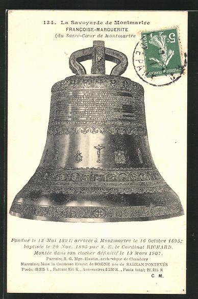 AK Paris, Francoise-Marguerite du Sacre-Coeur de Montmartre, Glocke