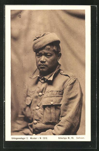AK Münster, britischer Gurkasse im Gefangenenlager 1916, Völkertype Nr. 45