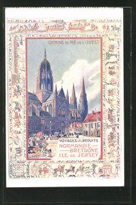 Künstler-AK Chemin de Fer de l'Ouest, Kathedrale, Tourismus