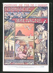Künstler-AK Chemin de Fer de l'Ouest, Normandie-Bretagne, Mont St.-Michel, Dudelsackspieler, Tourismus