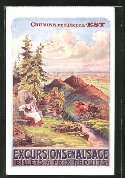 Künstler-AK Chemin de Fer de l'Est, Excursion en Alsace, Landschaft und Voilkstracht, Tourismus