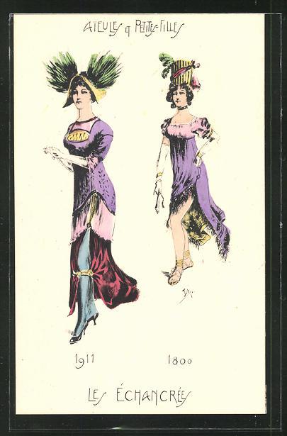 Künstler-AK Aieules et Petites-Fille, Les Echancrees 1911 & 1800, Mode 0