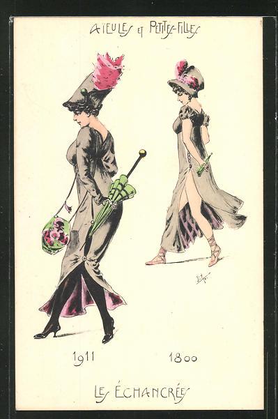 Künstler-AK Aieules et Petites-Fille, Les Echancrees 1911 & 1800, Mode