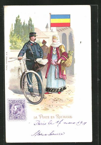 Lithographie La Poste en Roumanie, Briefträger mit Fahrrad 0