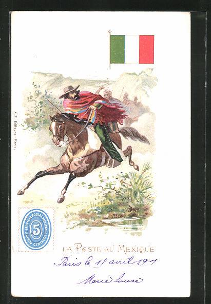 Lithographie La Poste au Mexique, berittener Briefträger flieht vor Indianern 0