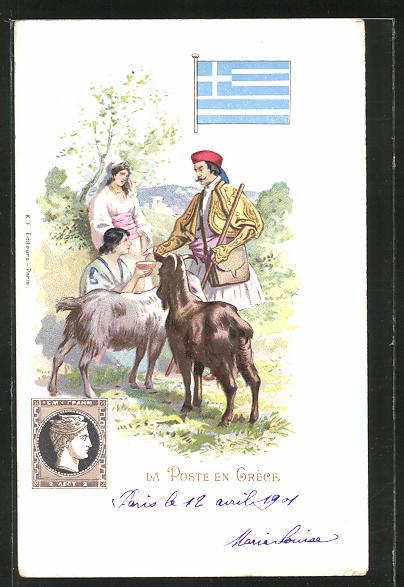 Lithographie La Post en Grece, griechischer Briefträger trifft Ziegenhirten 0