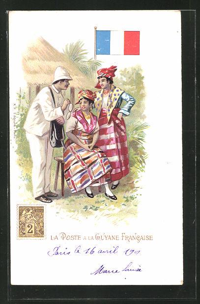 Lithographie La Poste a la Guyane Francaise, Briefträger in einem Dorf mit eingeborenen Frauen