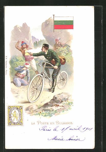 Lithographie La Poste en Bulgarie, Briefträger mit Pistole auf dem Fahrrad
