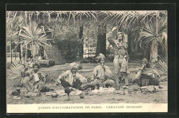 AK Paris, Jardin d'acclimatation, Caravane Indienne, Indische Musikanten, Völkerschau 0