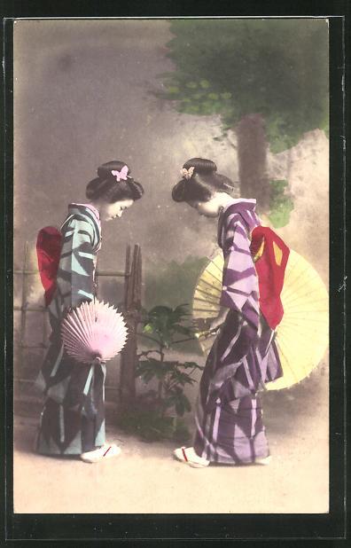 AK Zwei Geishas mit Schirmen