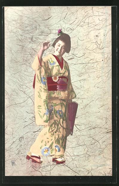 AK Lächelnde Geisha beim Winken