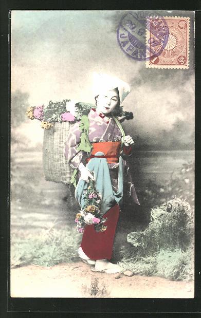 AK Geisha mit einem Korb Blumen auf dem Rücken 0
