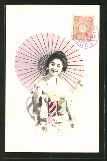 AK Lächelnde Geisha mit Schirm