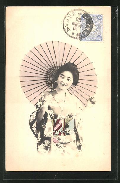 AK Lächelnde Geisha mit Schirm 0