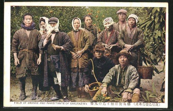 AK Japanische Typen, Field of Orange and Inhabitants of Sakurazima 0