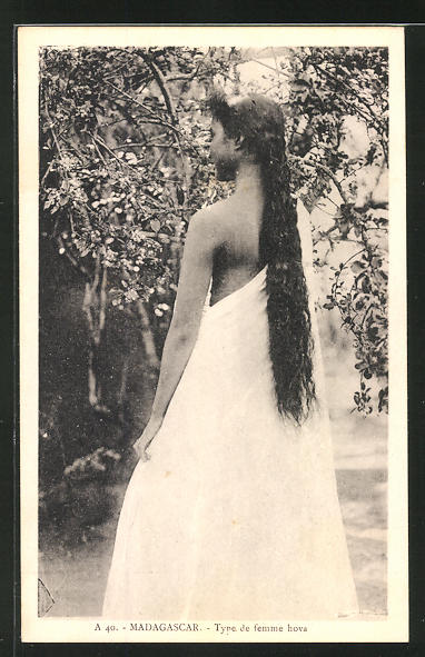 AK Madagascar, Type de femme hova, afrikanische Volkstypen mit toller Frisur